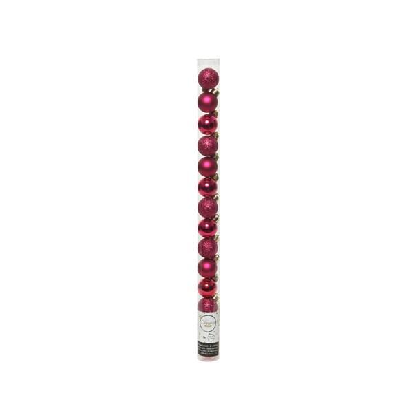 Tube Of Plain Magenta Pink Shatterproof Baubles - 14 X 30mm