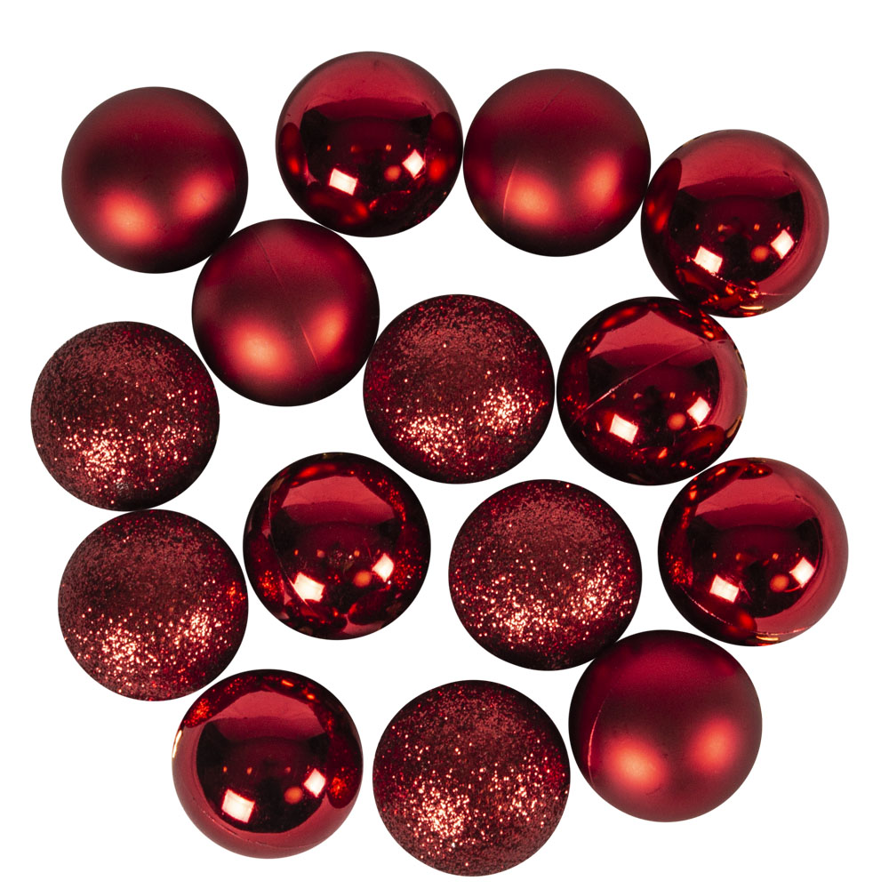 Tube Of Plain Christmas Red Shatterproof Baubles - 14 X 30mm