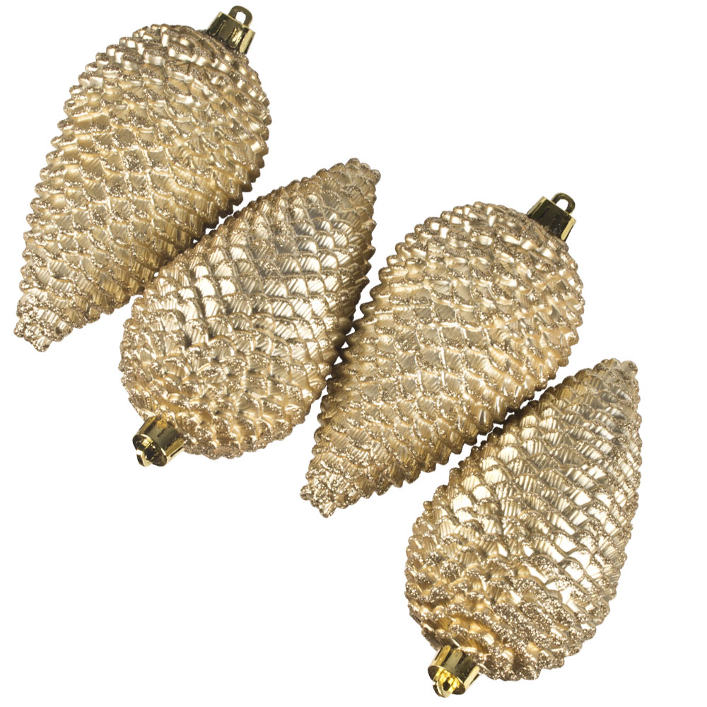 Pack Of 4 Large Gold Shatterproof Pinecone Decorations - 7cm X 12cm