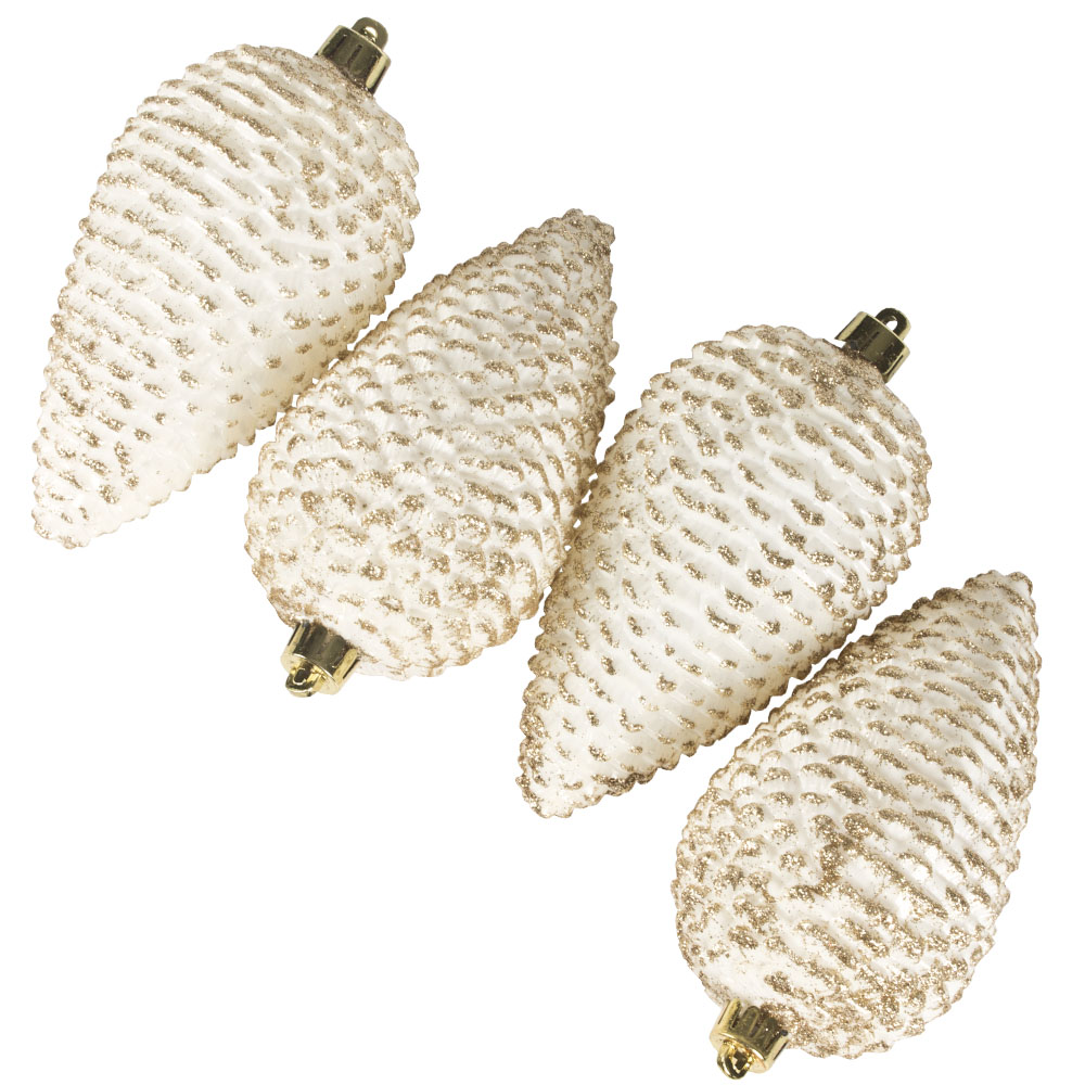 Pack Of 4 Large Ivory Shatterproof Pinecone Decorations - 7cm X 12cm