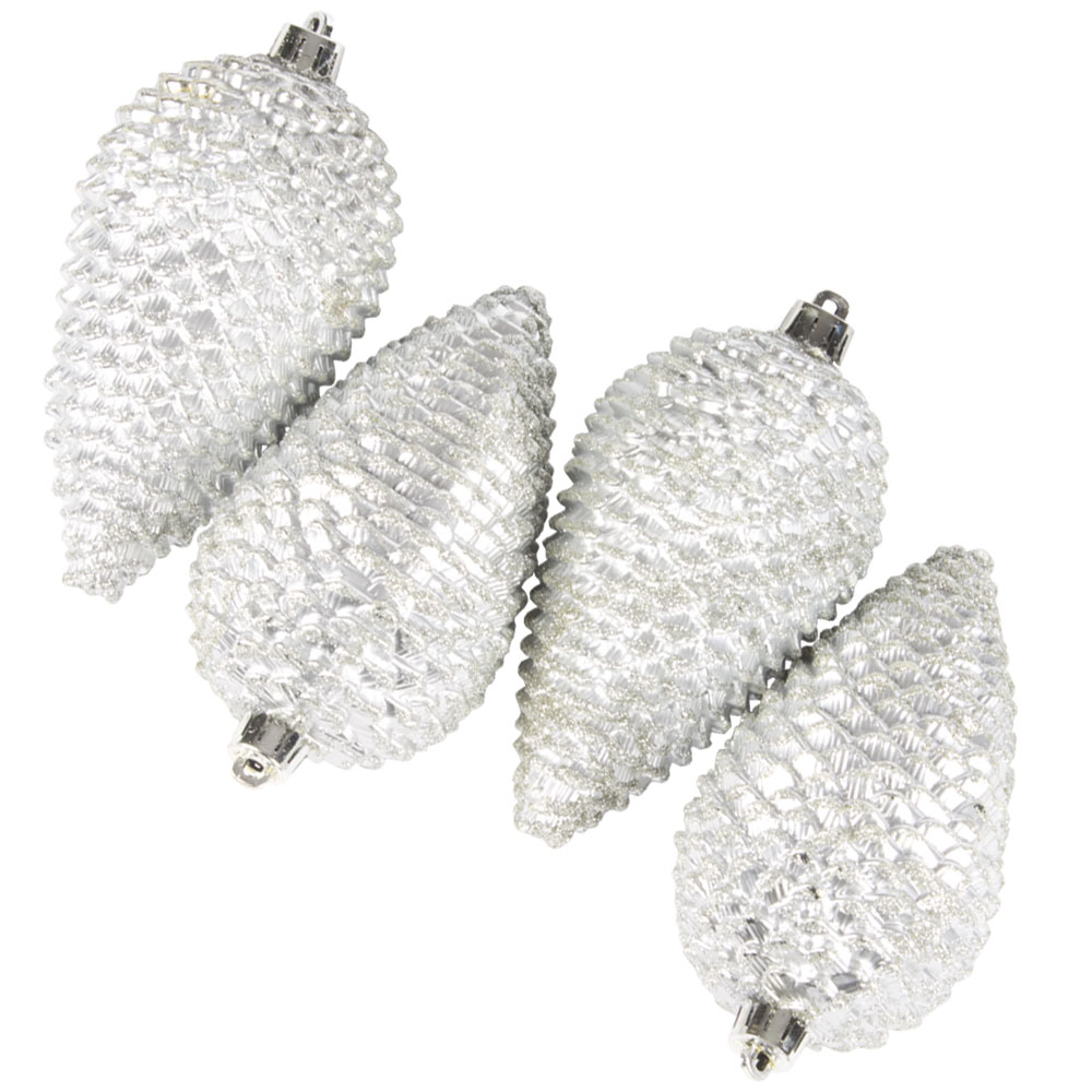 Pack Of 4 Large Silver Shatterproof Pinecone Decorations - 7cm X 12cm