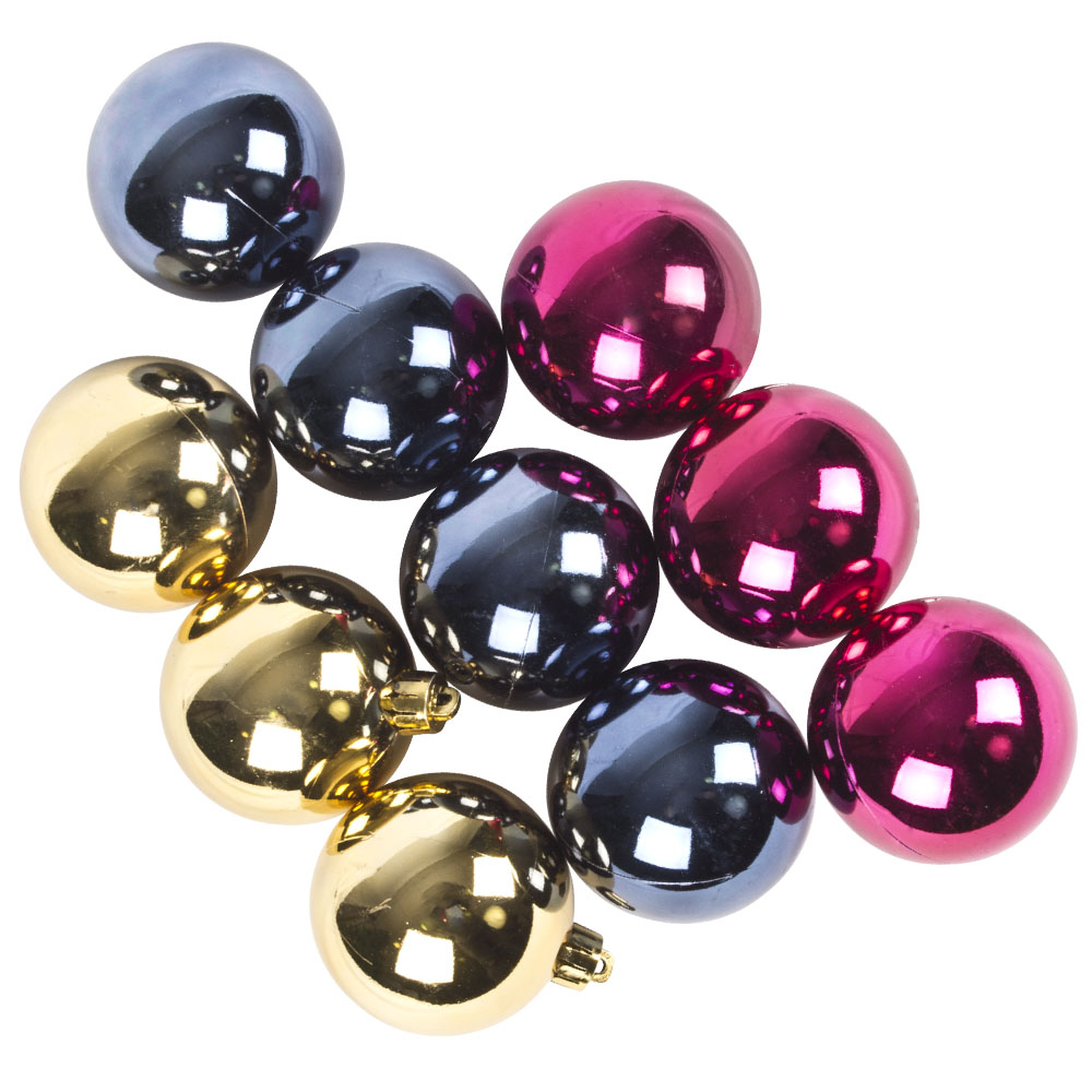 Tube Of Blue, Gold & Fuchsia Assorted Shatterproof Baubles - 10 X 60mm