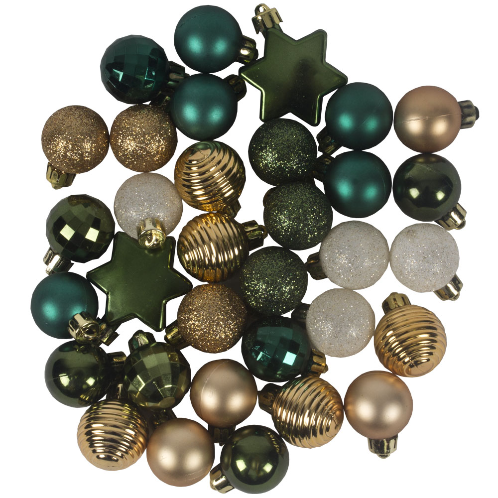 Green, Ivory & Gold Assorted Shatterproof 33 Piece Decorating Pack