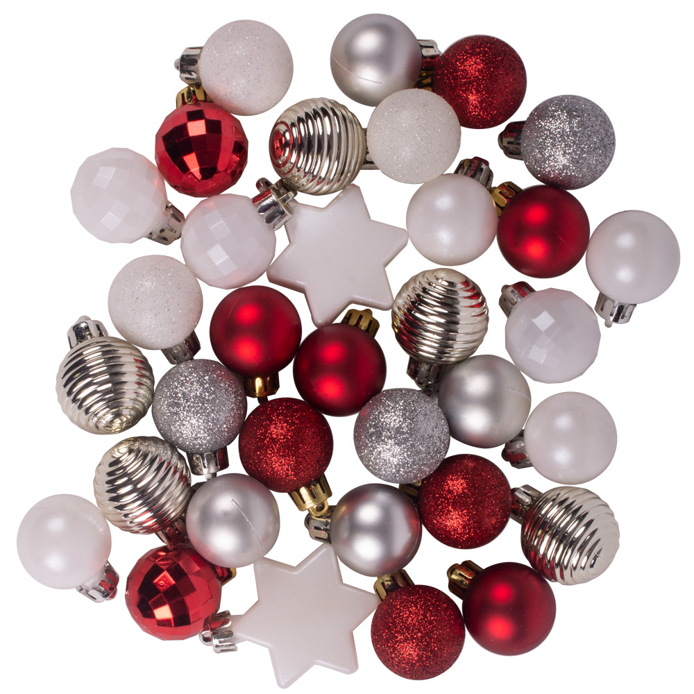 Silver, Red & White Assorted Shatterproof 33 Piece Decorating Pack