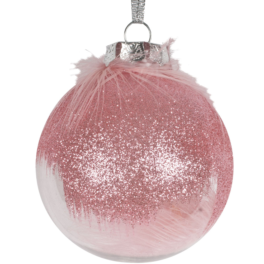 Clear Shatterproof Bauble With Pink Feathers & Glitter - 80mm