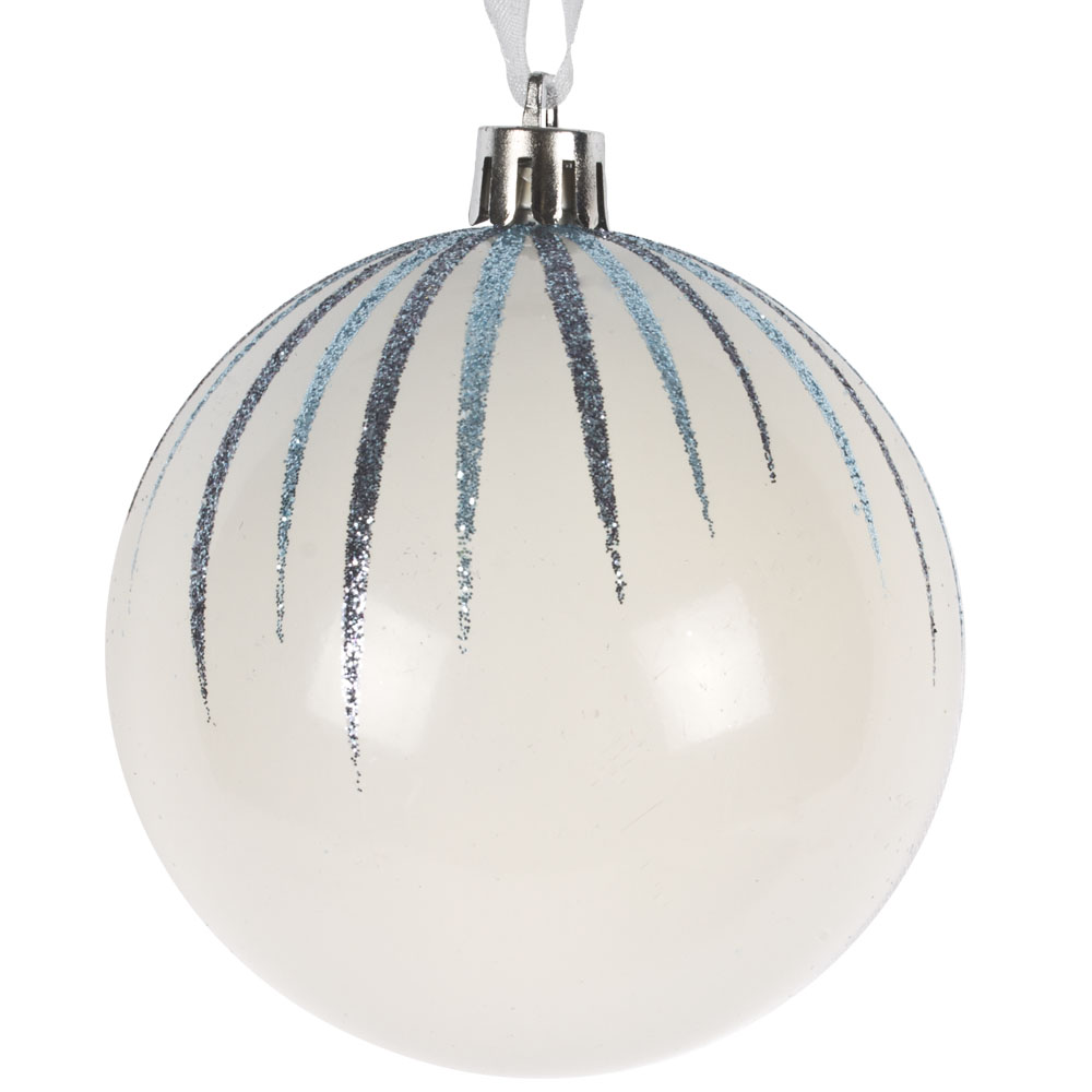 Ivory Shatterproof Bauble With Blue Glitter Stripes - 80mm