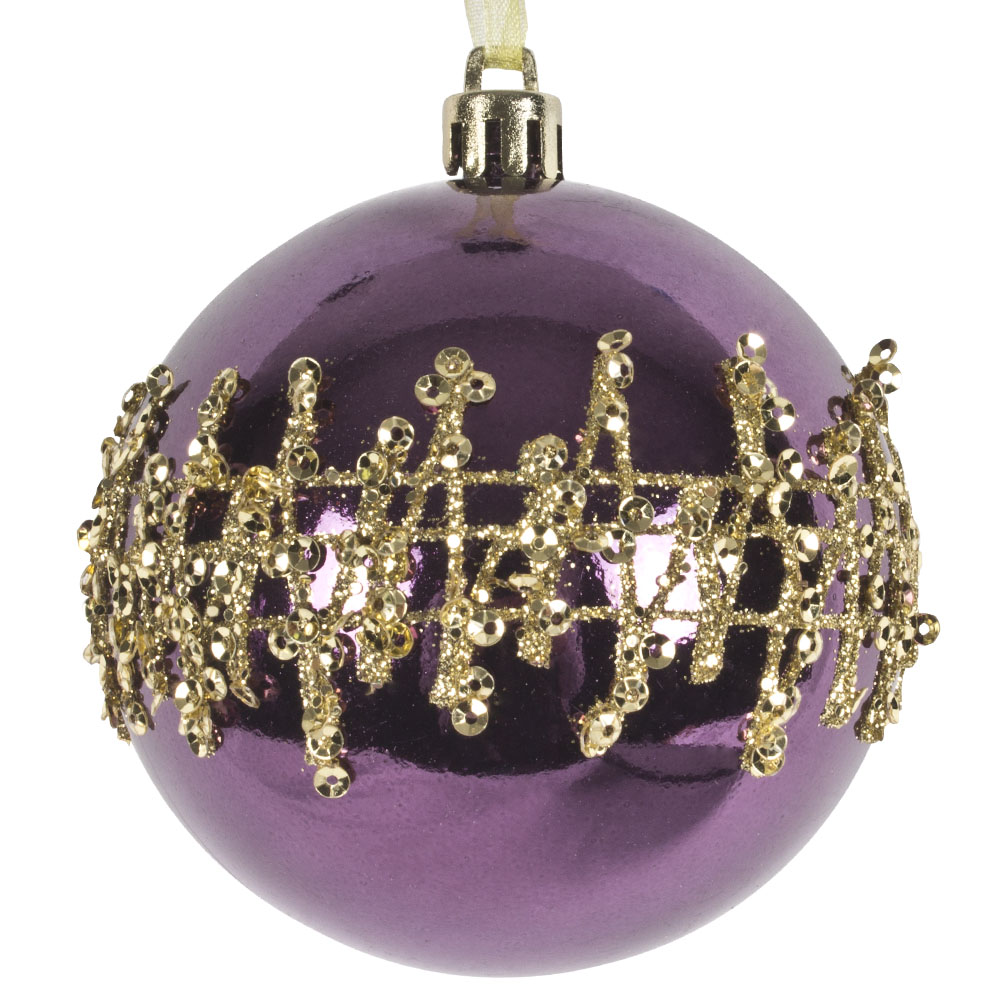 Dark Lavender Shatterproof Bauble With Gold Glitter Design - 80mm