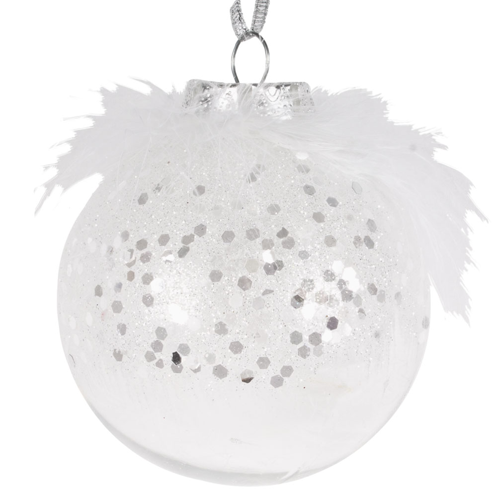 Clear Shatterproof Bauble With White Feathers & Glitter - 80mm