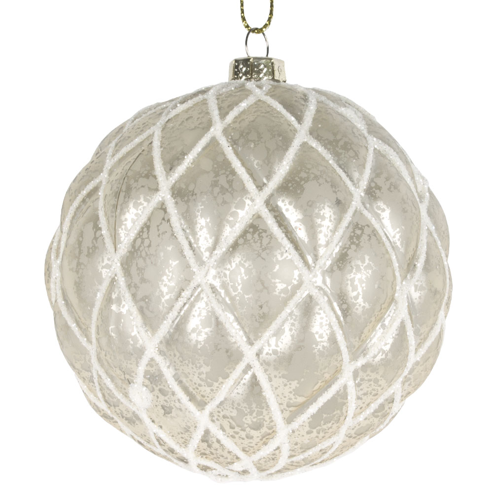 Pearl Matt Quilted Shatterproof Bauble - 80mm