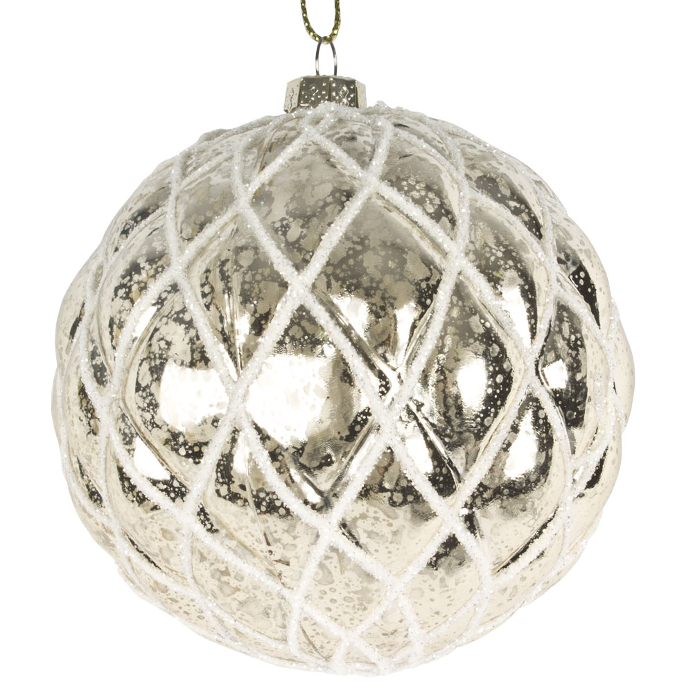 Pearl Shiny Quilted Shatterproof Bauble - 80mm