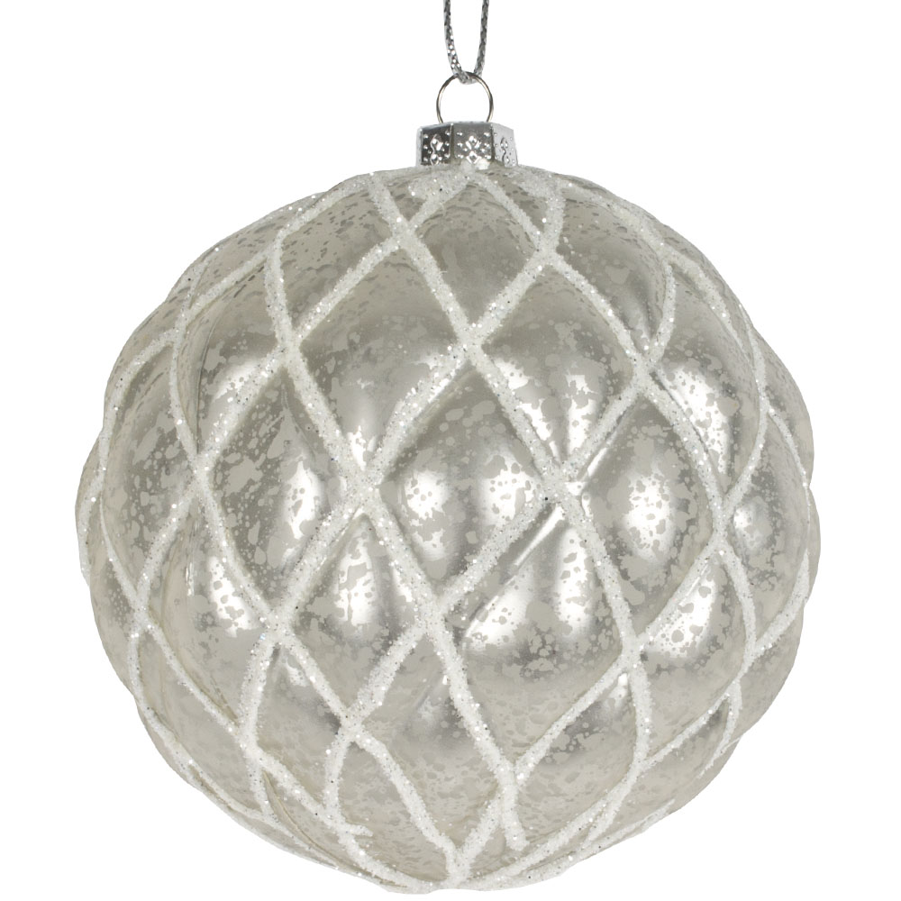Stone Grey Matt Quilted Shatterproof Bauble - 80mm