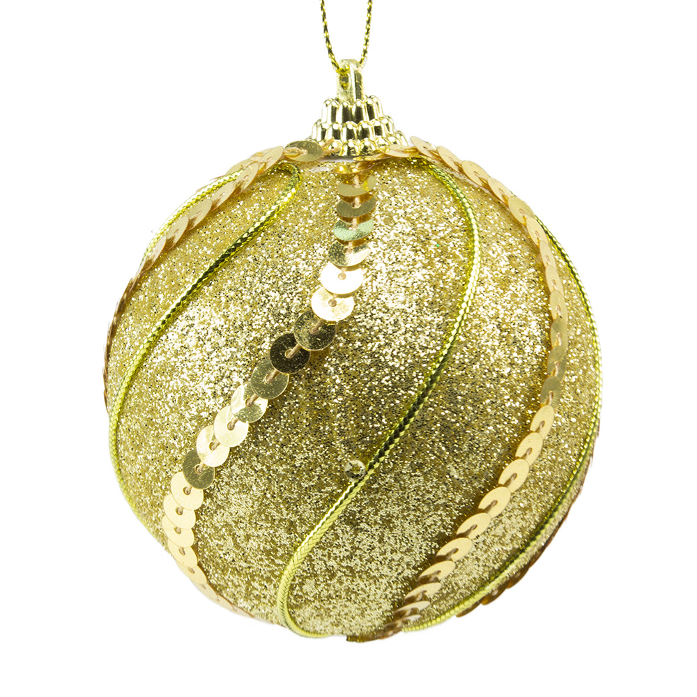 Gold Glitter And Sequin Finish Bauble - 80mm