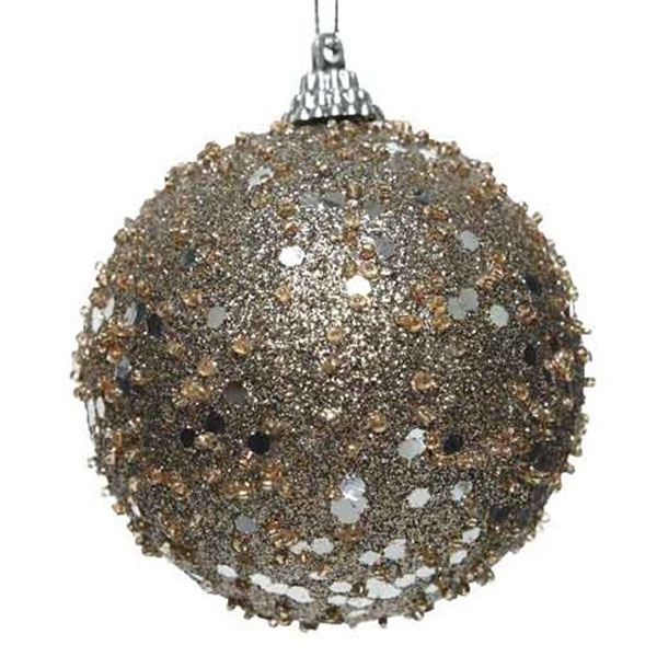 Pale Brown Glitter And Sequin Finish Bauble - 80mm