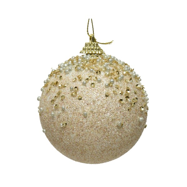 Pearl Glitter And Sequin Finish Bauble - 80mm