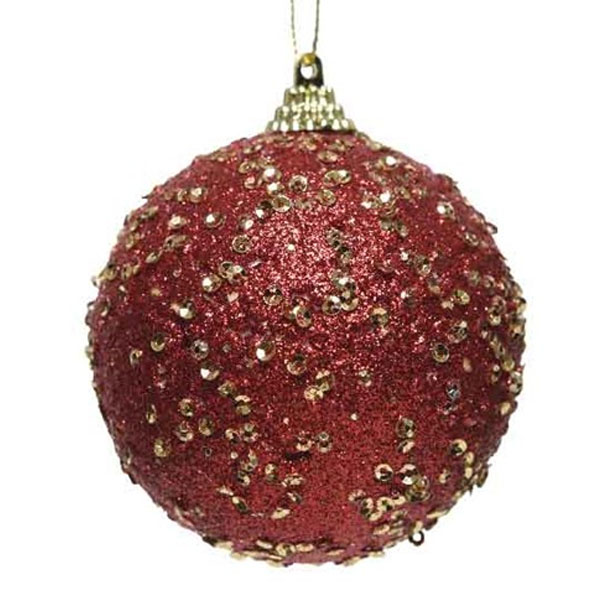 Red Glitter And Sequin Finish Bauble - 80mm
