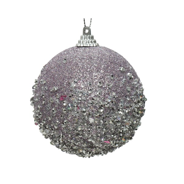 Shatterproof Bauble With Frosted Lilac Glitter Finish - 80mm