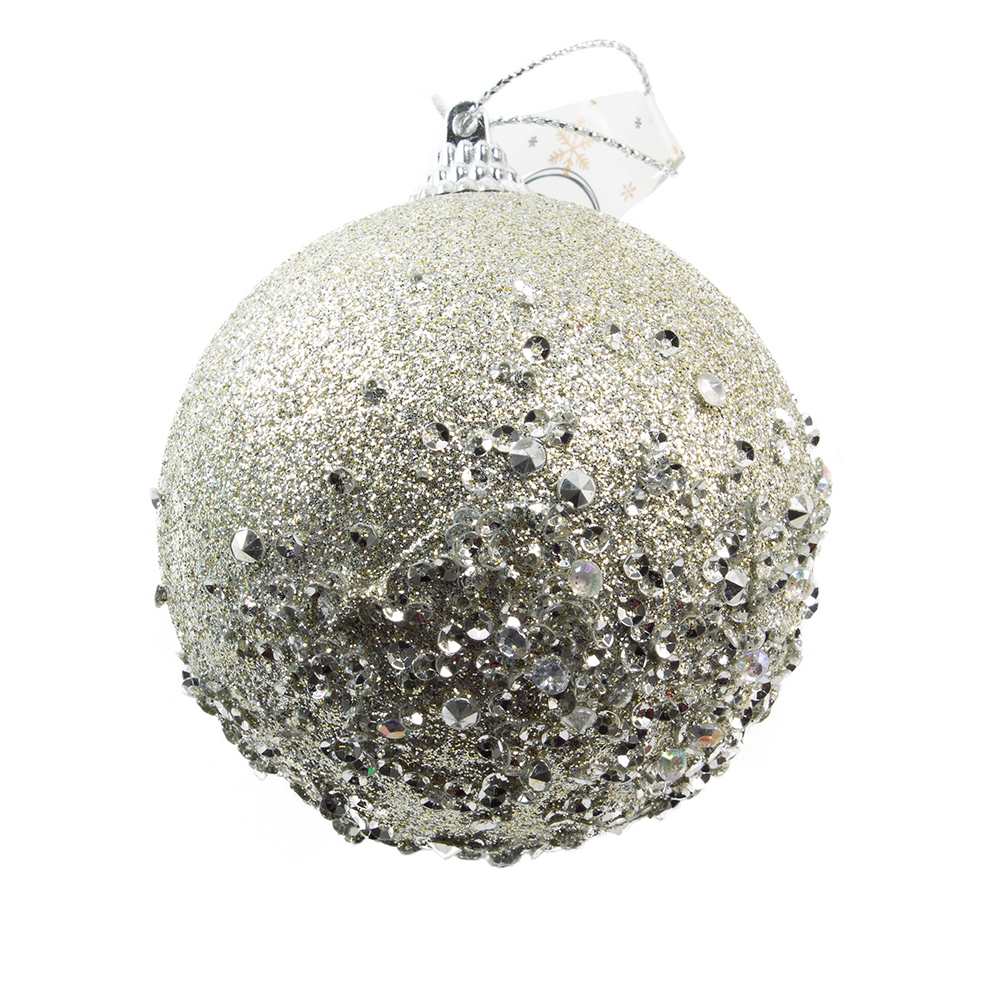 Shatterproof Bauble With Pale Grey Glitter Finish - 80mm