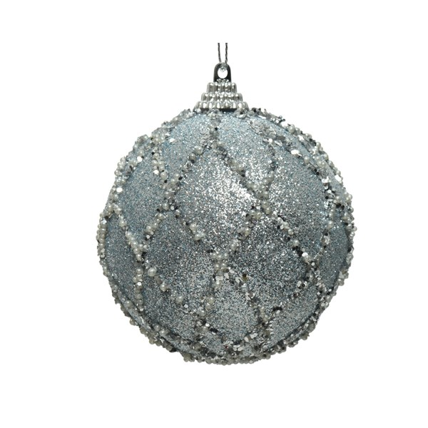 Shatterproof Bauble With Ice Blue Glitter Finish - 80mm