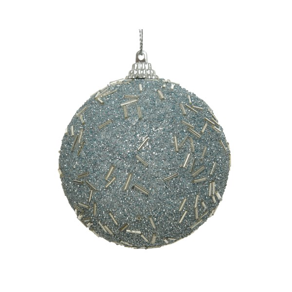 Shatterproof Bauble With Pale Blue Glitter Finish - 80mm