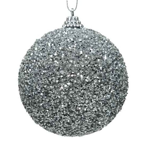 Shatterproof Bauble With Silver Glitter Finish - 80mm