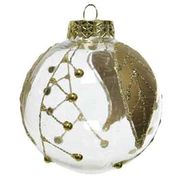 Transparent Shatterproof Bauble Decorated With Gold Leaves & Glitter Pattern - 80mm