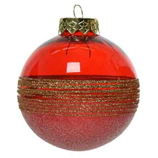 Red Tinted Transparent Shatterproof Bauble With Glitter Stripes And Frosted Effect - 80mm