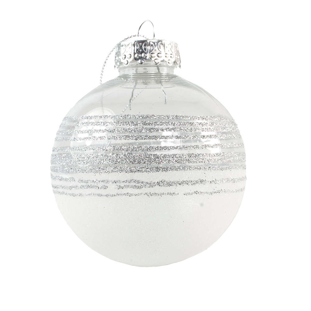 Silver Tinted Transparent Shatterproof Bauble With Glitter Stripes And Frosted Effect - 80mm