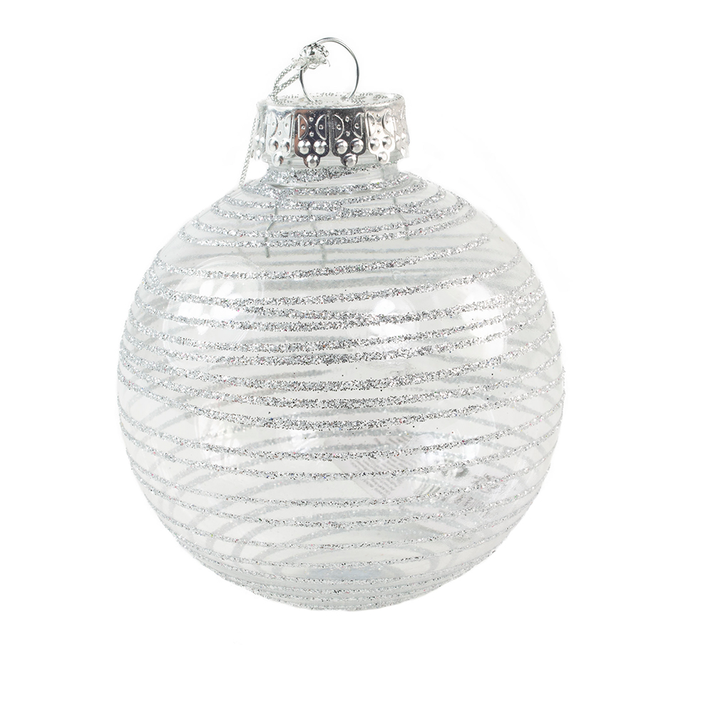 Silver Tinted Transparent Shatterproof Bauble With Glitter Stripes - 80mm