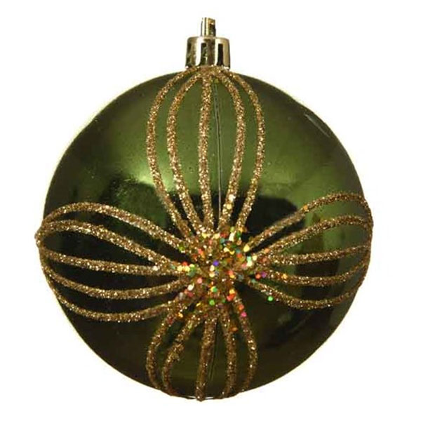 Shiny Dark Green Shatterproof Bauble With Gold Glitter Flower Design - 80mm