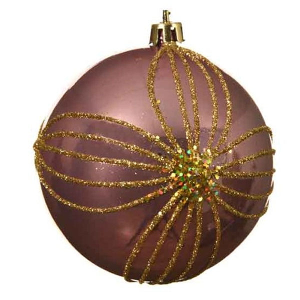 Shiny Velvet Pink Shatterproof Bauble With Gold Glitter Flower Design - 80mm
