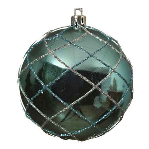 Turquoise Shiny Shatterproof Bauble With Glitter Mesh Pattern - 80mm