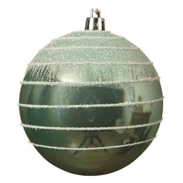 Pale Sage Green Shatterproof Bauble With Glitter Stripes And Frosted Effect - 80mm