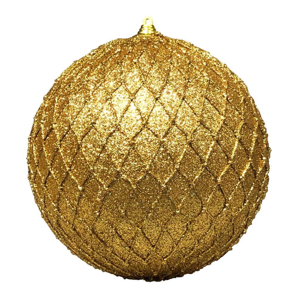 Gold Facetted Glitter Bauble - 135mm