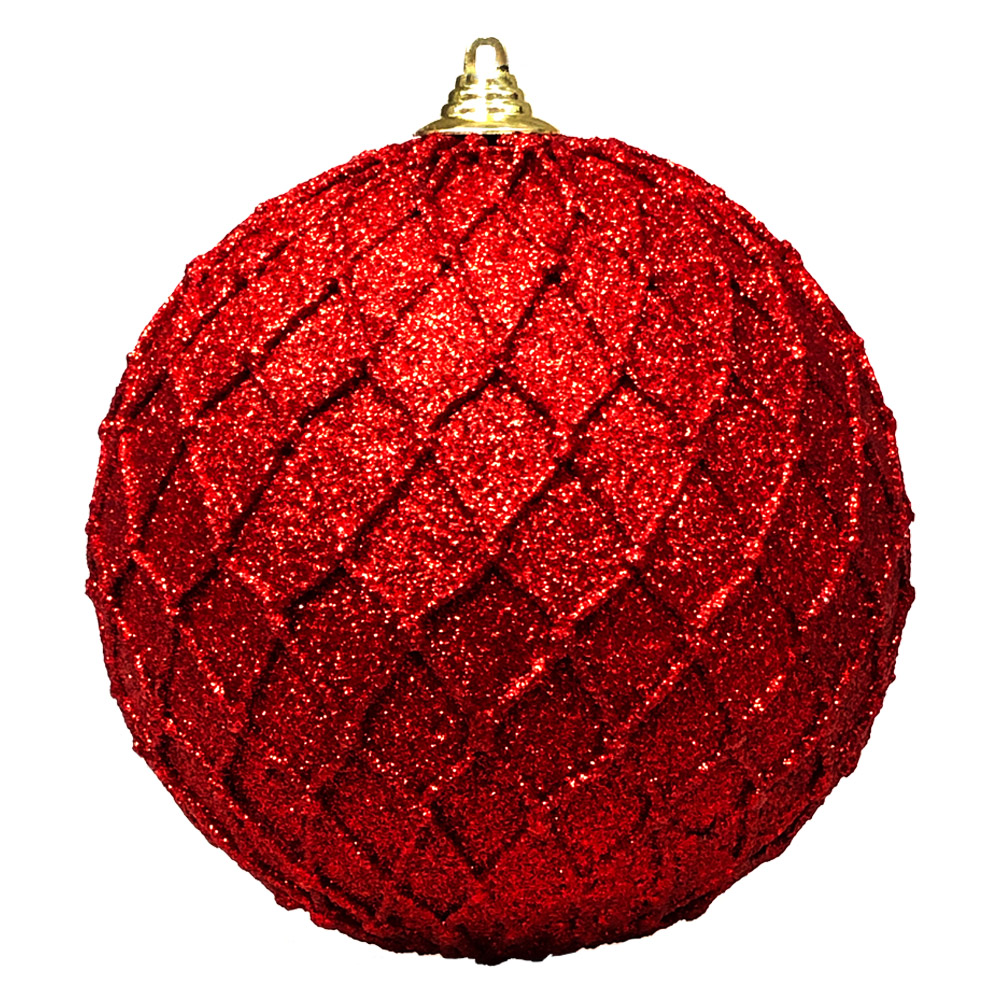 Red Facetted Glitter Bauble - 180mm