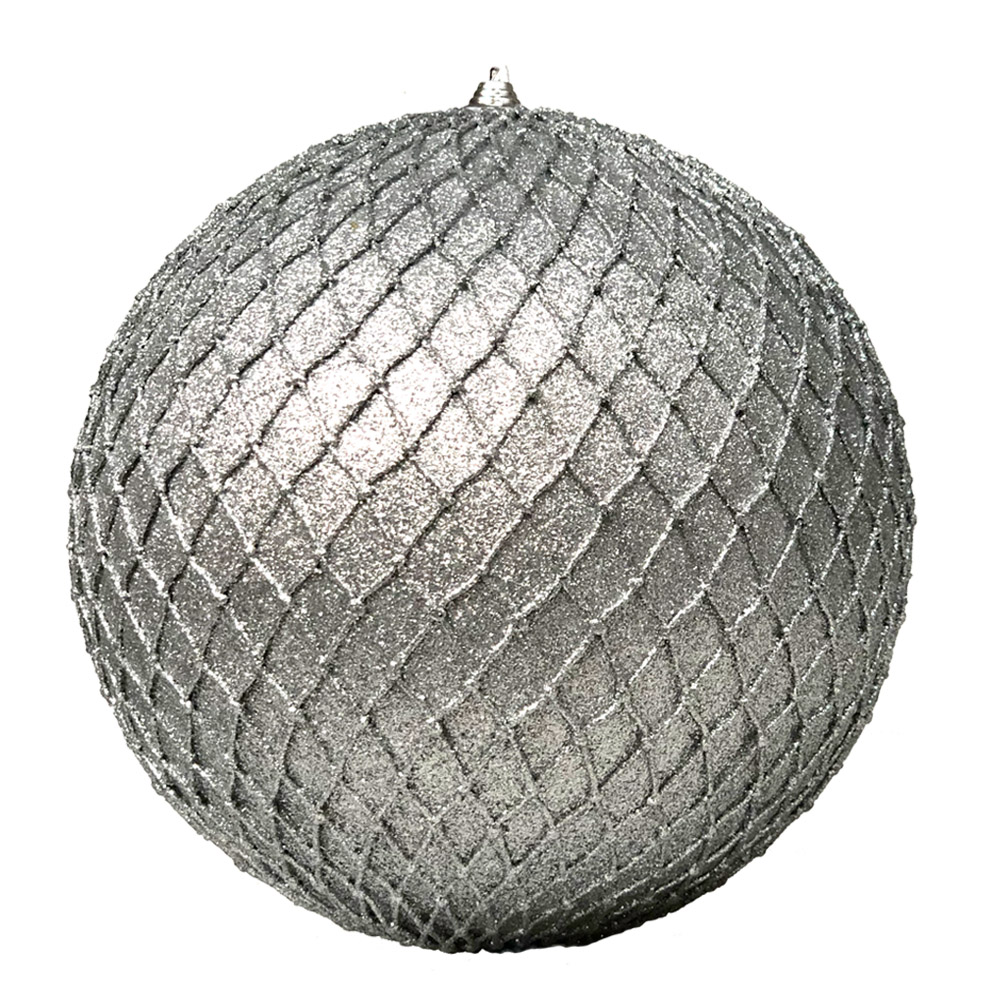 Silver Facetted Glitter Bauble - 180mm