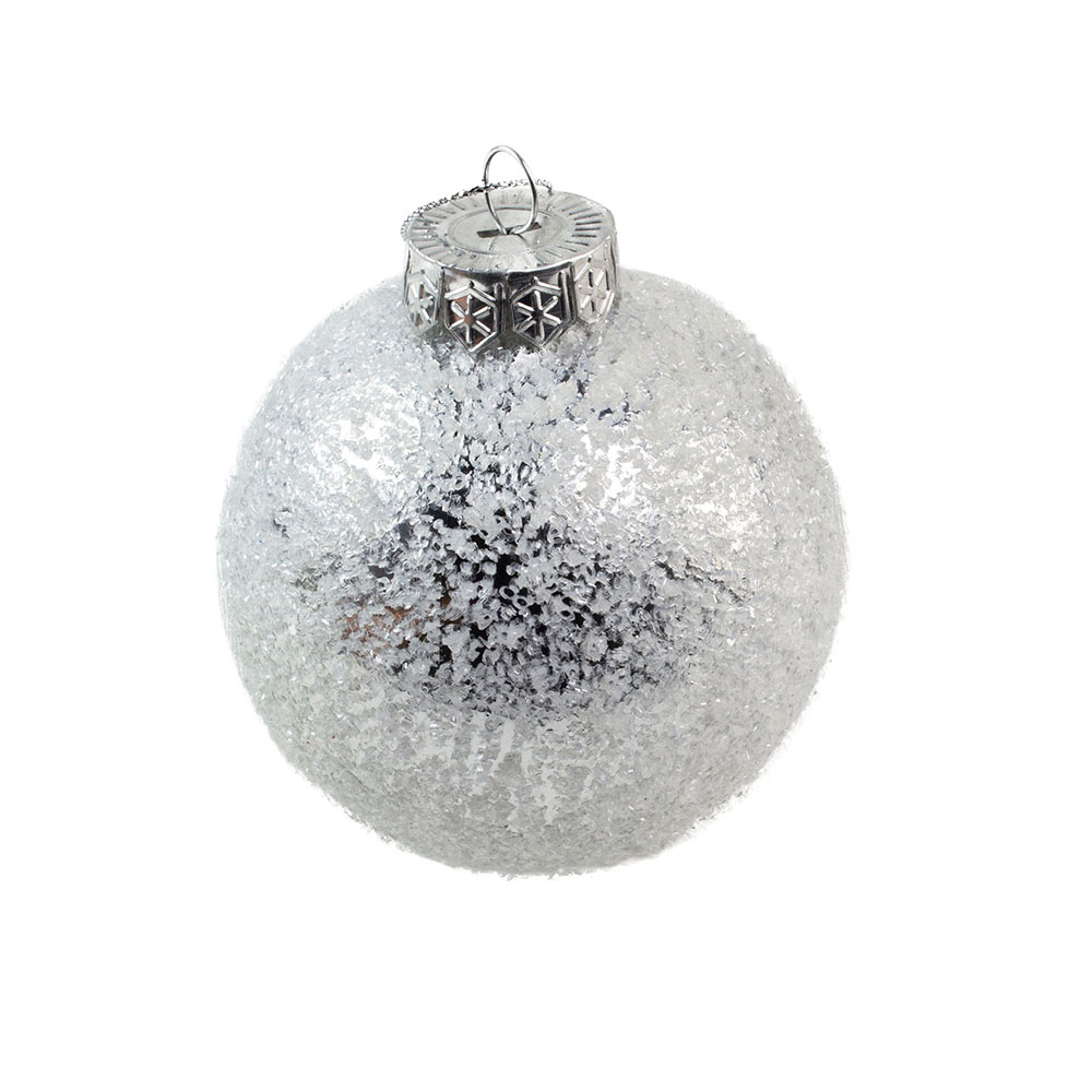 Ice Glitter Finish Grey Shatterproof Bauble - 80mm
