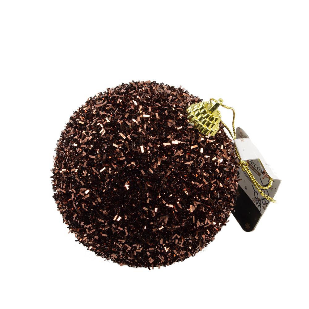 Decorative Ebony Brown Glitter Tinsel Bauble - 80mm
