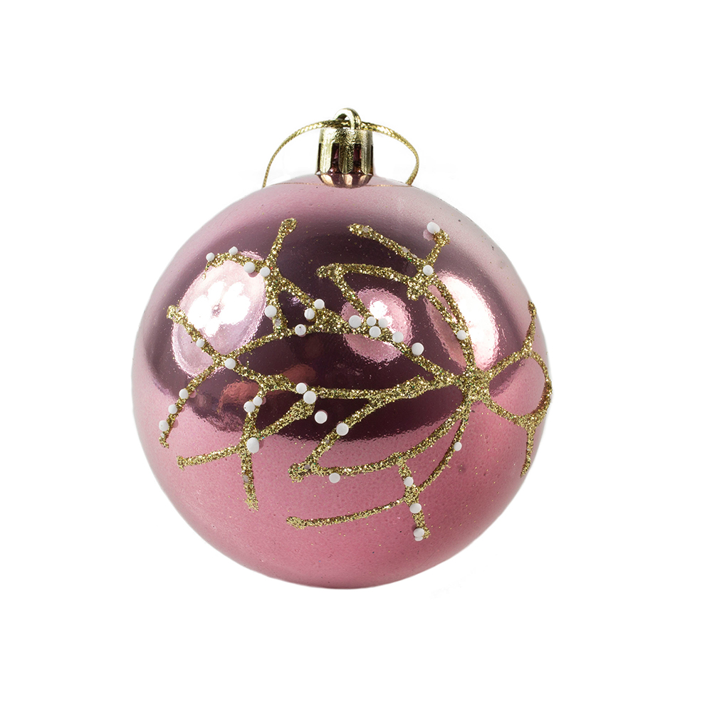 Shiny Velvet Pink Shatterproof Bauble With Glitter & Pearls - 80mm