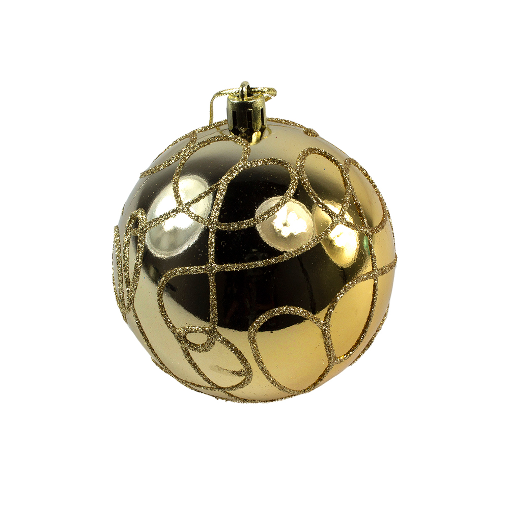 Gold Decorated Shatterproof Bauble With Glitter Swirls - 80mm