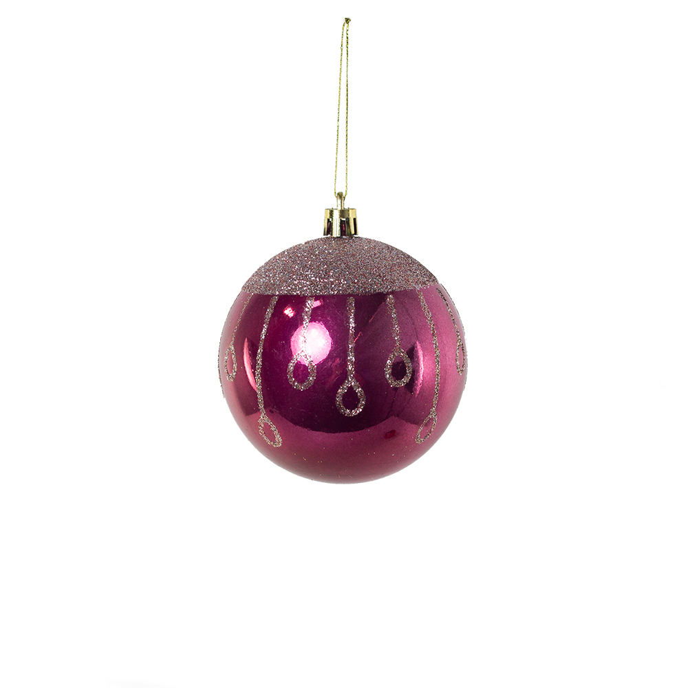 Shatterproof Decorated 80mm Bauble Range - Deep Magnolia Pink With Gold Glitter Drops