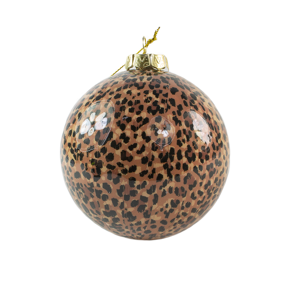 Shiny Leopard Animal Print Shatterproof Bauble - 100mm