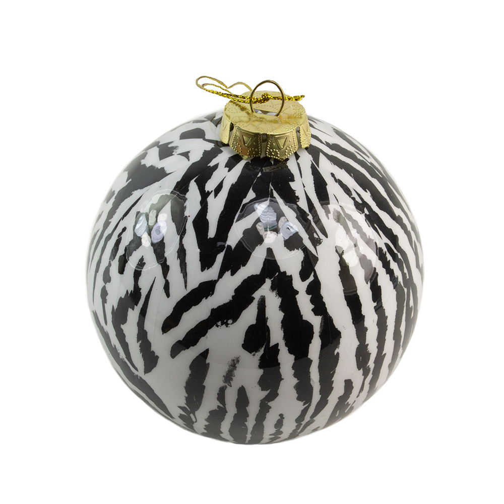 Shiny Zebra Animal Print Shatterproof Bauble - 100mm