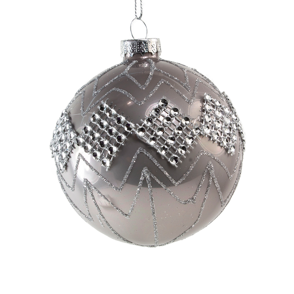 Decorated Pearl Grey Glass Bauble With Diamond Pattern - 80mm