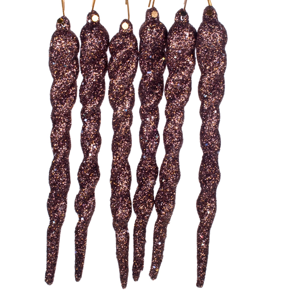 Cocoa Brown Glitter Icicles With Hanger - Pack of 6 x 13cm
