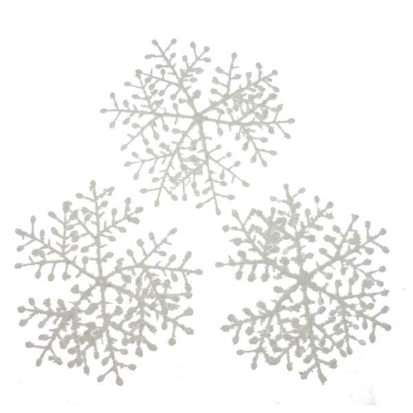 White Flocked Hanging Snowflakes - 3 x 23cm
