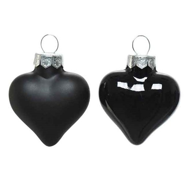 Black Glass Hearts - 12 x 40mm