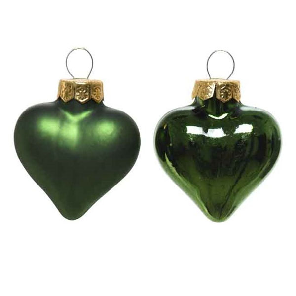 Dark Green Glass Hearts - 12 x 40mm