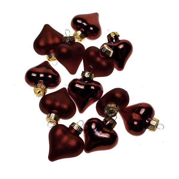 Dark Red Glass Hearts - 12 x 40mm
