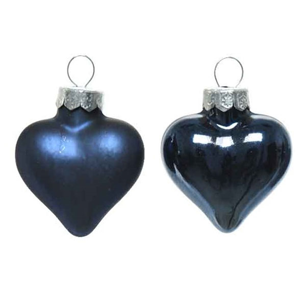 Night Blue Glass Hearts - 12 x 40mm