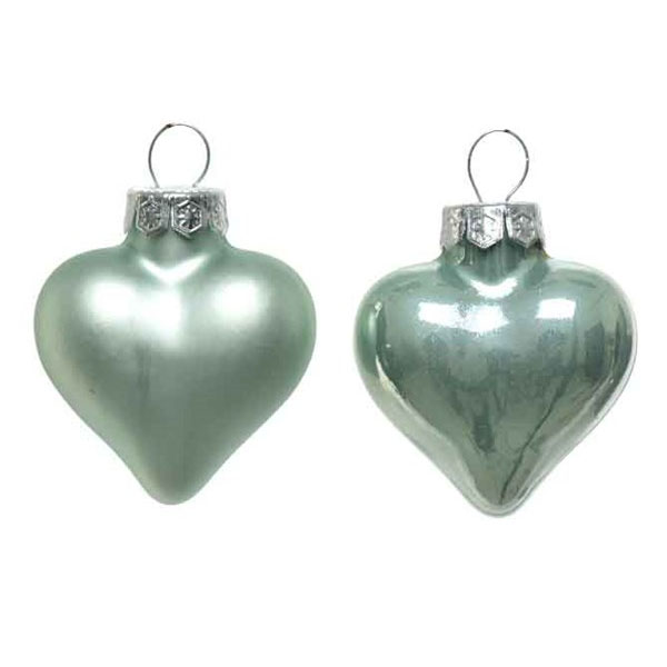 Pale Sage Green Glass Hearts - 12 x 40mm